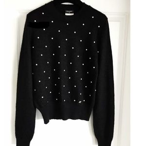 CHANEL BLACK WHITE PEARL CASHMERE MOHAIR SWEATER